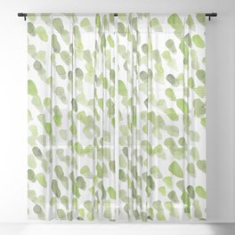 Imperfect brush strokes - olive green Sheer Curtain