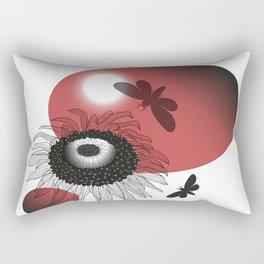 Black sunflower and moths Rectangular Pillow