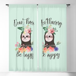 SLOTH ADVICE (mint green) - DON'T HURRY, BE HAPPY! Blackout Curtain
