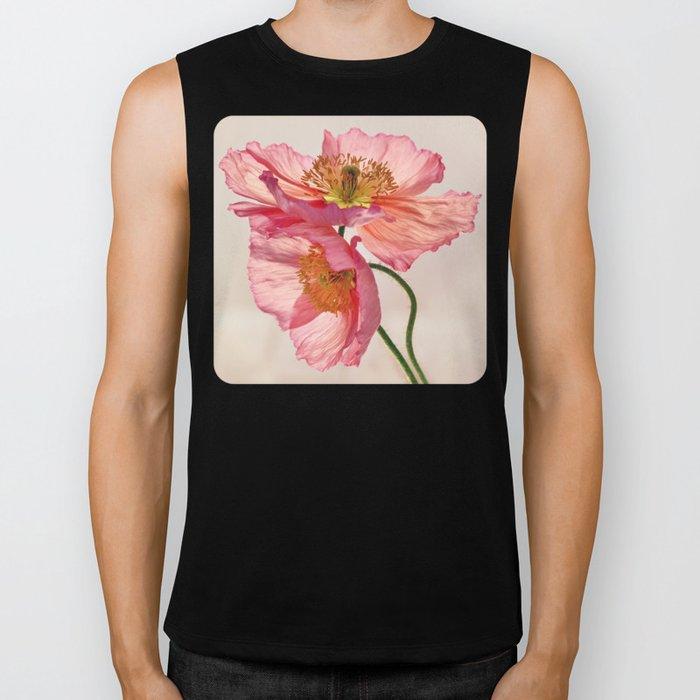 Like Light through Silk - peach / pink translucent poppy floral Biker Tank