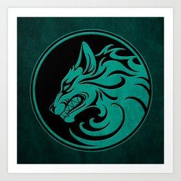 Teal Blue Growling Wolf Disc Art Print