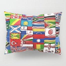 Sketchy World Flags Pillow Sham