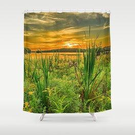grass, river, sunset, horizon, summer Shower Curtain
