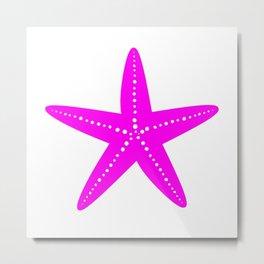 Starfish (Magenta & White) Metal Print