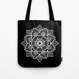 White Mandala On Black Tote Bag