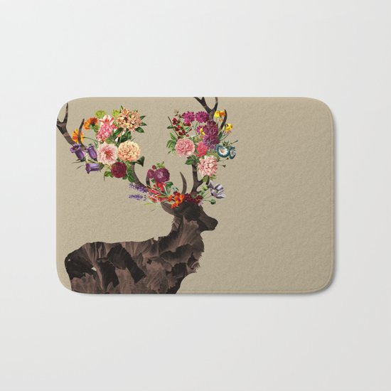Spring Itself Deer Flower Floral Tshirt Floral Print Gift Bath Mat