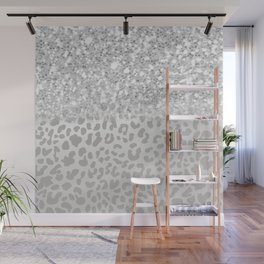 Sparkly Silver Leopard Print Wall Mural