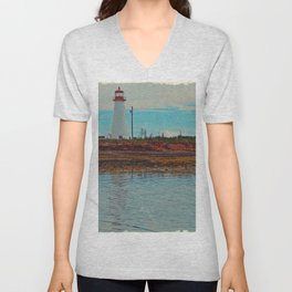 Lighthouse Travels in Time Unisex V-Neck