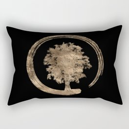 Enso Zen Circle and Tree - Gold on black Rectangular Pillow