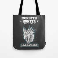 monster hunter Tote Bags featuring Monster Hunter All Stars - The Dondruma Hurricanes by Bleached ink