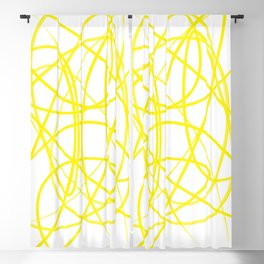 Curvy1Print Yellow and White Blackout Curtain
