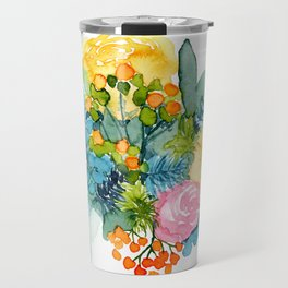 Colorful Watercolor Bouquet Travel Mug