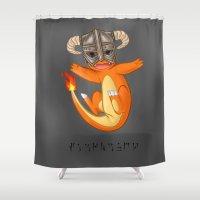 skyrim Shower Curtains featuring CHAR-MAN-DAAAAH!! by Kashidoodles Creations