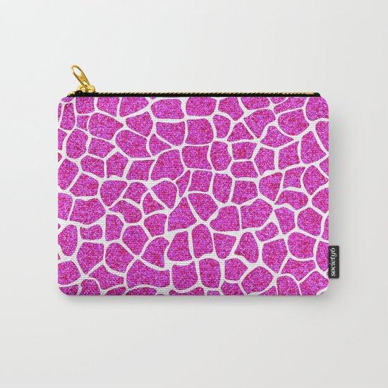 Pink Glitter Giraffe Print Carry-All Pouch