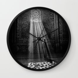 Rays of Sun through medieval blind window tracery black and white photograph / art photography Wall Clock