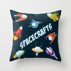 Spacecraft and rockets flying the stars Throw Pillow