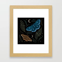 Moths and Ferns Framed Art Print