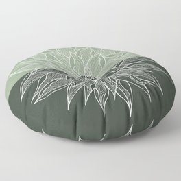 Green Dahlia Line Art Floor Pillow