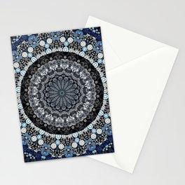 Dark Blue Grey Mandala Design Stationery Cards