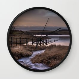Still waters at the Derwent Reservoir at sunset Wall Clock
