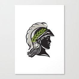 Minerva Head Profile Silhouette Retro Canvas Print