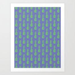 Pineapples - Purple & Green #352 Art Print