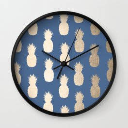 Gold Pineapples on Aegean Blue Wall Clock
