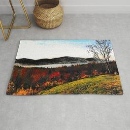 'Lake George Living' Adirondacks Mountains Original Drawing Rug