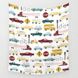 Beep Beep! Cars and Trucks Traffic Pattern Wall Tapestry