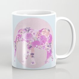 Floral Elephant Pastel Pink And Blue Coffee Mug