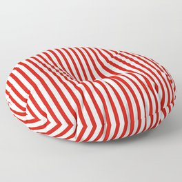 Red & White Maritime Vertical Small Stripes - Mix & Match with Simplicity of Life Floor Pillow