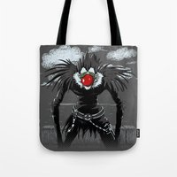 magritte Tote Bags featuring Ryuk Magritte by le.duc