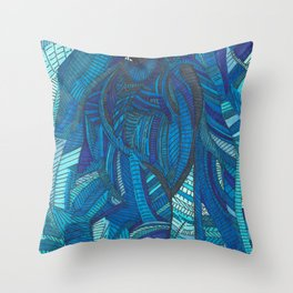 'He remembers' Ombre Blue Close-up Elephant Face Illustration with line work Throw Pillow