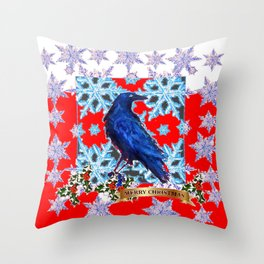DECORATIVE RED CHRISTMAS HOLIDAY CROW SNOWFLAKES ART Throw Pillow