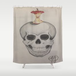 Skull and Apple Shower Curtain