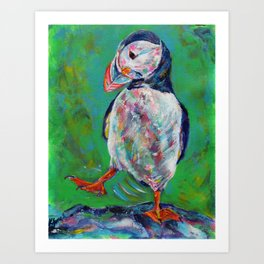 Dancing puffin Art Print