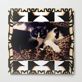 Love & Peace Cats on Black,White,Gold,Leopard Metal Print