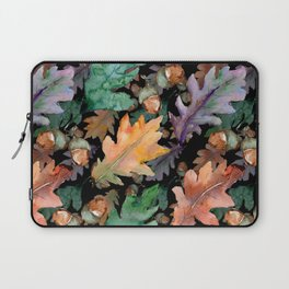 Colorful Woodland Watercolor Oak And Acorn Pattern Laptop Sleeve