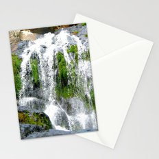Waterfall over green rocks Stationery Cards