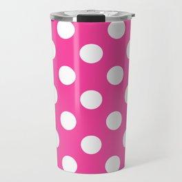 Rose bonbon - pink - White Polka Dots - Pois Pattern Travel Mug
