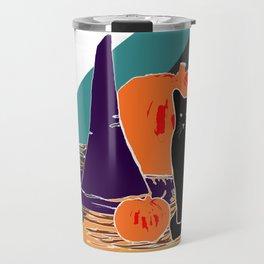 Witch Cat Pumpkin in Candy Corn Travel Mug