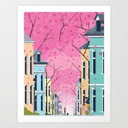 Aldstadt, Bonn ft. Cherry Blossom Art Print