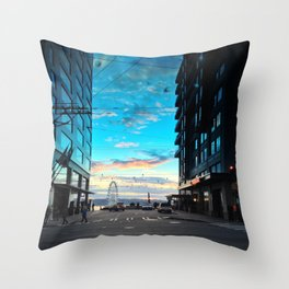 Seattle Summer Sunset Throw Pillow