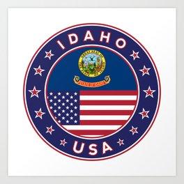 Idaho, Idaho t-shirt, Idaho sticker, circle, Idaho flag, white bg Art Print