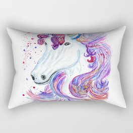 Rainbow unicorn portrait Rectangular Pillow