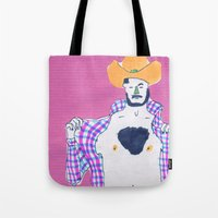 cowboy Tote Bags featuring cowboy by Maybe Mary