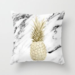 Gold Pineapple on Marble Throw Pillow