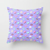 donuts Throw Pillows featuring Donuts by heymonster