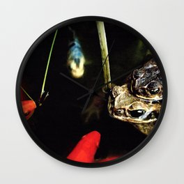 Curious Goldfish in a Pond with Frogs Wall Clock
