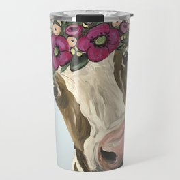 Cow with Flower Crown, Cute Cow Art Travel Mug